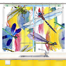 Hand Drawn Color Dragonfly Kitchen Curtains 2 Panel Set Decor Window Drapes