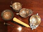 Four Vintage Silver Tea Strainers   Parts Only