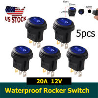 Blue 5pcs Round Waterproof On/Off Toggle Rocker Switch for Car Auto Boat 20A 12V