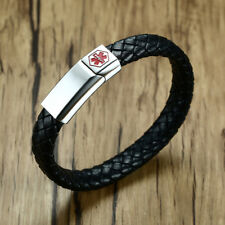 Men's Medical Alert ID Braided Leather Bracelet Surfer Wristband Free Engraving