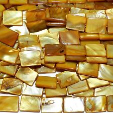 MP2271L Golden Yellow 20mm Flat Rectangle Mother of Pearl Shell Beads 15""
