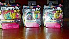 Mattel Monster High Minis w/ Pet Cleo,  Frankie & Lagoona  Set of 3