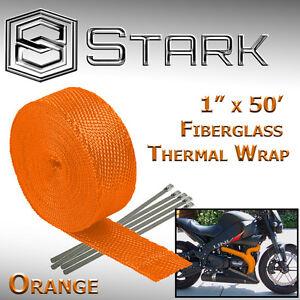 "1"" x 50' Ft Motorcycle Header Exhaust Heat Wrap Fiberglass Manifold - Orange (B)"