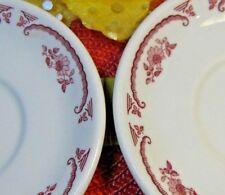 VINTAGE HOMER LAUGHLIN~2 SAUCERS~Restaurant Ware~AMERICAN ROSE~PINK/RED & WHITE
