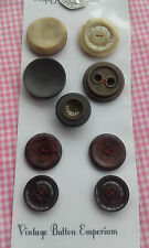 9 Mixed Large Brown Vintage Art Deco Buttons 24-35mm Craft Sewing