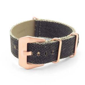 DASSARI Shred Frayed Edge Canvas Distressed Watch Band Strap w/ Rose Gold