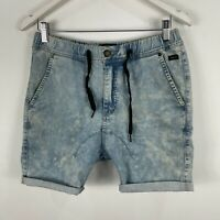 Industrie Mens Shorts 32 Blue Denim Elastic Waist Drawstring