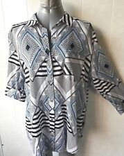 Katies Black, Blue and White Button Front Shirt, 3/4 Tab Sleeve, Plus Size 20
