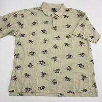 Warner Bros Tasmanian Devil Polo Shirt Men's 2XL XXL Short Sleeve Tan