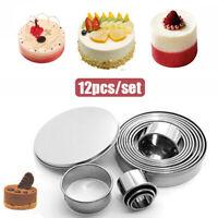 12Pcs/set Metal Round Cookie Biscuit Cutter Circle Pastry Baking Cake Ring Mold.