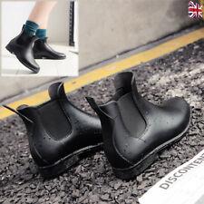 Women Ladies Rubber Rain Shoes Chelsea Boots Flat Ankle Wellies Wellington Size