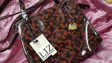 """LIZ CLAIBORNE Designer Bronze Logo Vintage Collector Fashion 9x8"""" Shoulder Bag"""