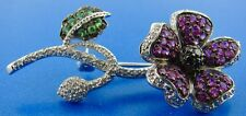 AMAZING 18k White Gold, Ruby, Green Peridot, Black Diamonds Pin Brooch
