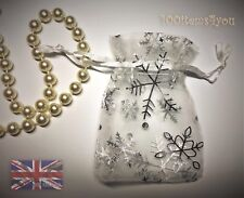 Organza Bags 9 x 12 cm White  Silver Snowflakes Christmas Jewellery Gifts UK