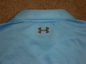 Men's UNDER ARMOUR HG Loose Polo XL SKY BLUE w/Gray UA Logos ~ Polyester