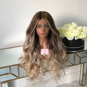 Ombre Blonde Human Hair Lace Front Wig Transparent Lace Remy Full Lace Wig