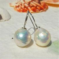 13-14mm Huge White Baroque Pearl Earrings Silver Ear Dangle wedding DIY handmade
