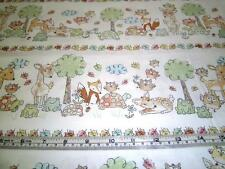 WOODLAND FOREST ANIMALS STRIPE  TIMELESS TREASURES COTTON QUILT FABRIC