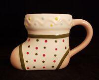"Opal House Baby Shoe Bootie Shaped Ceramic Mug Light Pink 4.5"" Tall •"