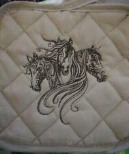 Horse ShadowEmbroidered Tan Potholder