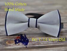 Boy Teenage 100% Cotton Grey + Navy Blue Bow Tie Bowtie Wedding 7-14 Years Old
