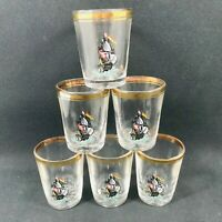 6 x VINTAGE SHOT GLASSES SAILING BOAT DESIGN