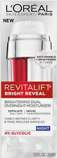 L'Oreal Bright Reveal Brightening Dual Overnight Moisturizer Anti-Wrinkle 1oz