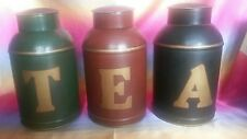 """3X Toleware Tea canister. MARKED AS """"T-E-A""""....&...1-2- 3...........FREE POSTAGE"""