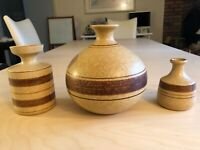 Set of 3 1970's Vintage POTTERY CRAFT USA Pottery Vase Decanters