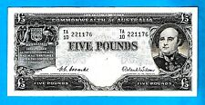 Australia P31 COMMONWEALTH £5 Sign Coombs/Wilson Type# 6 Ist Prefix# TA 1954 aXF