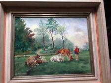 Ölgemälde Ölbild von J. Hanselmann 1962 Landschaft mit Kühen