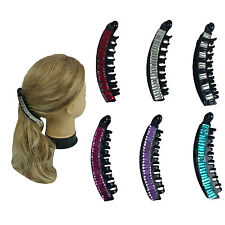 6 Pieces New Banana Hair Comb Clip with Gem Stones Hair Riser Claw Lot - US Ship