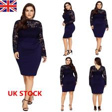 Plus Size Women Backless Long Sleeve Lace Dress Evening Party Formal Mini Dress