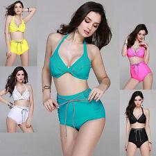 Briefs Polyester Halterneck Patternless Swimwear for Women