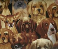 Packed dogs Timeless Treasures fabric