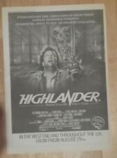 Highlander movie  1986 press advert Full page 28 x 39 cm poster