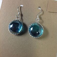 Beautiful one of a kind blue glass cabochon earrings, handcrafted in USA