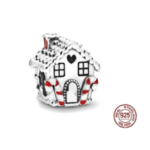 NEW S925 Sterling Silver Gingerbread House Christmas Charm Bracelet Jewelry Bead