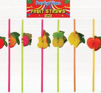 12 Hawaiian Fruit Honeycomb Straws - Luau Loot/Party Bag Drinking Wedding/Kids