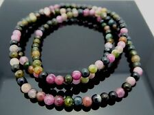 Natural Multi-color Tourmaline 4mm Smooth Round Gemstone Beads Necklace Bracelet