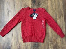 New Ralph Lauren Boys Red Knitted Sweater Jumper Top Size 6-7 Years
