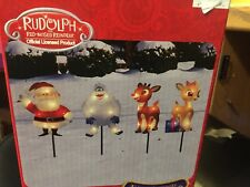 """RUDOLPH SNOWMAN LIGHTED PATHWAY MARKERS SANTA IN/OUTDOOR 8"""" TALL CHRISTMAS"""