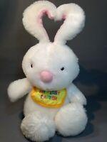 "Hallmark My First Easter Bunny Rabbit White Plush Heart Shaped Ears Baby Bib 10"""