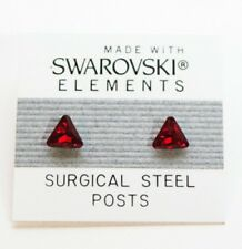 6mm Small Red Crystal Triangle Stud Earrings Made with SWAROVSKI ELEMENTS