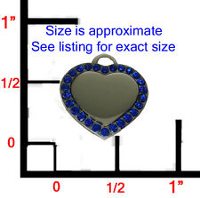 SMALL Designer Blue Sapphire Heart Pet ID Dog Tag Charm! FREE ENGRAVING!