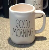New! RAE DUNN by Magenta~GOOD MORNING~Coffee Mug~Ivory With Black Letters!