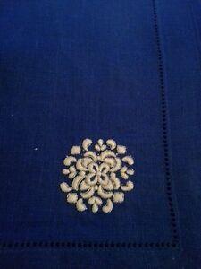 New Sferra Herald Linen Dinner Napkins - Blue (4)
