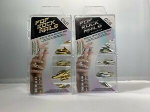 Color Club POP ROCK NAILS Metallics Finish Artificial Nails 120ct Gold or Silver
