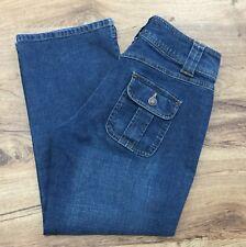 Old Navy Sz 6 Ultra Low Waist Capri Jeans Stretch Button Flap Pockets Womens 6
