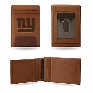 New York Giants - NFL - Brown Leather Money Clip Front Pocket Wallet